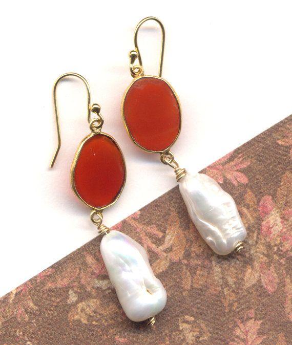 Orange Carnelian Rustic Cut Earrings 18 K Gold Filled by Annaart72