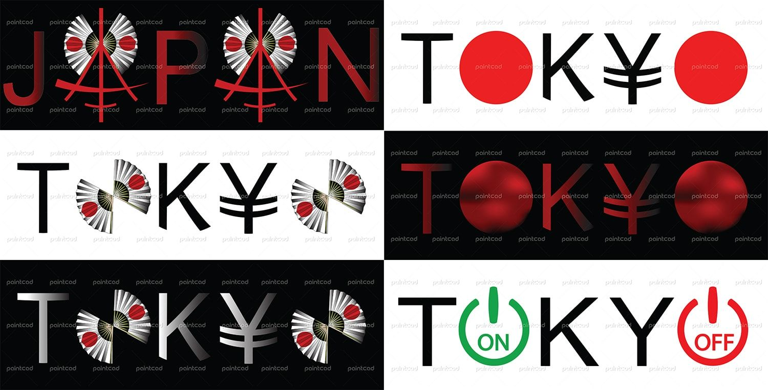 Vector Illustration Of Words Japan And Tokyo On The White And Black