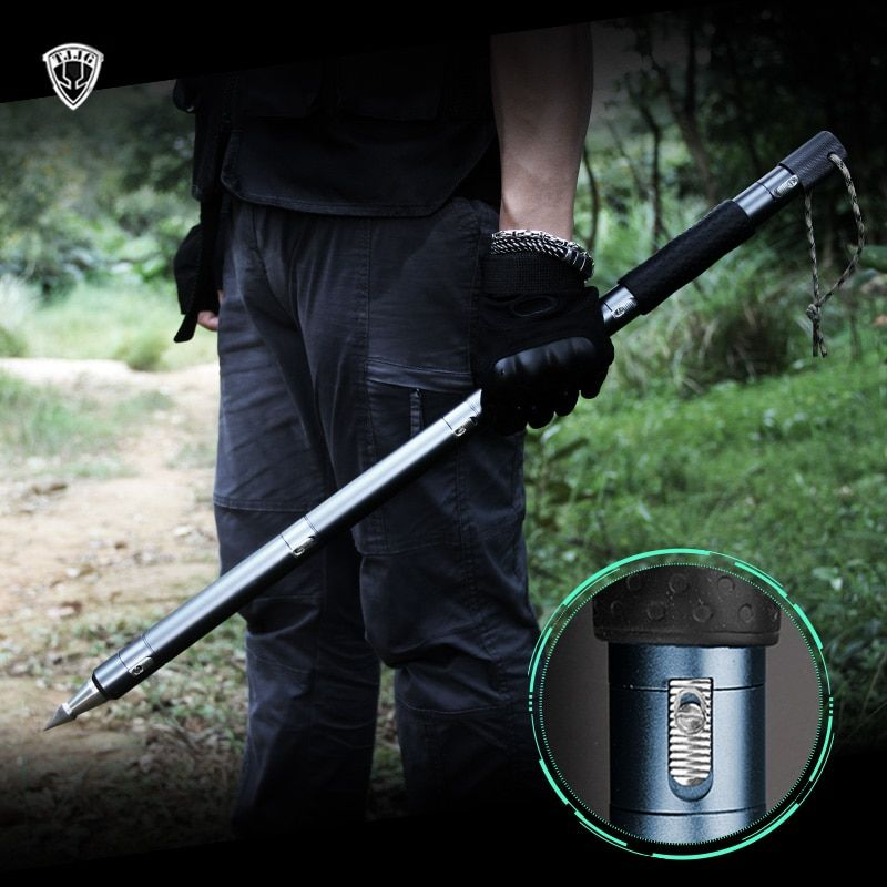 12 Function Defense Tactical Walking Stick Outdoor Survival Tool