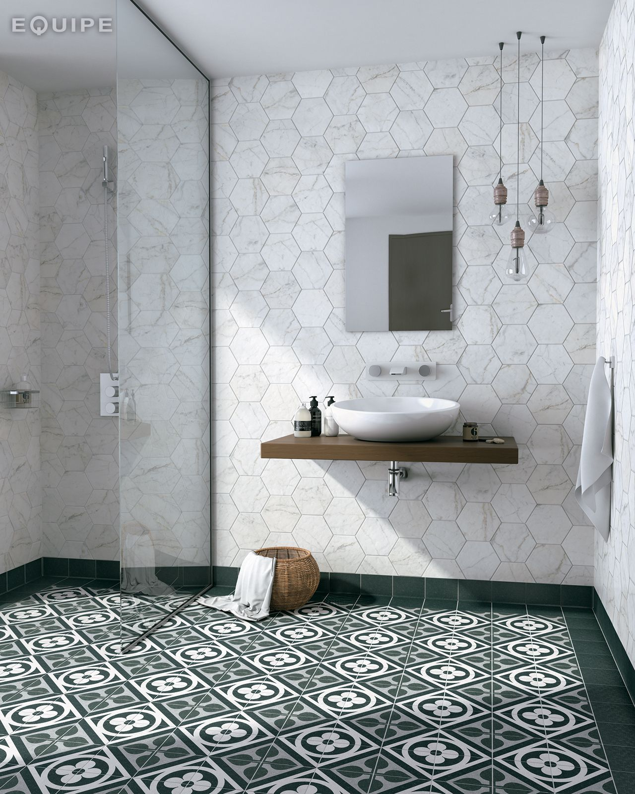 Sasha Chris Badkamer Carrara Hexagon 17 5x20 Area 15 Graphite Flower Black 15x15
