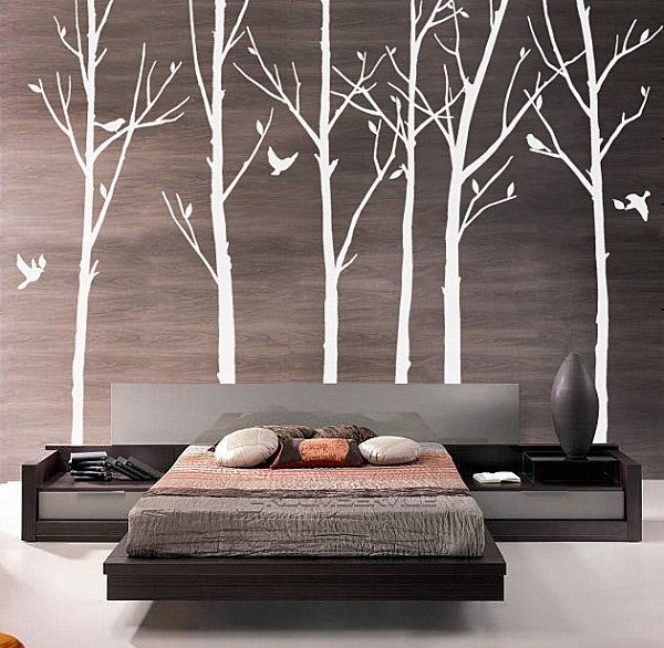 Modern tree wall decals calcoman a en pared interiores for Murales en paredes interiores