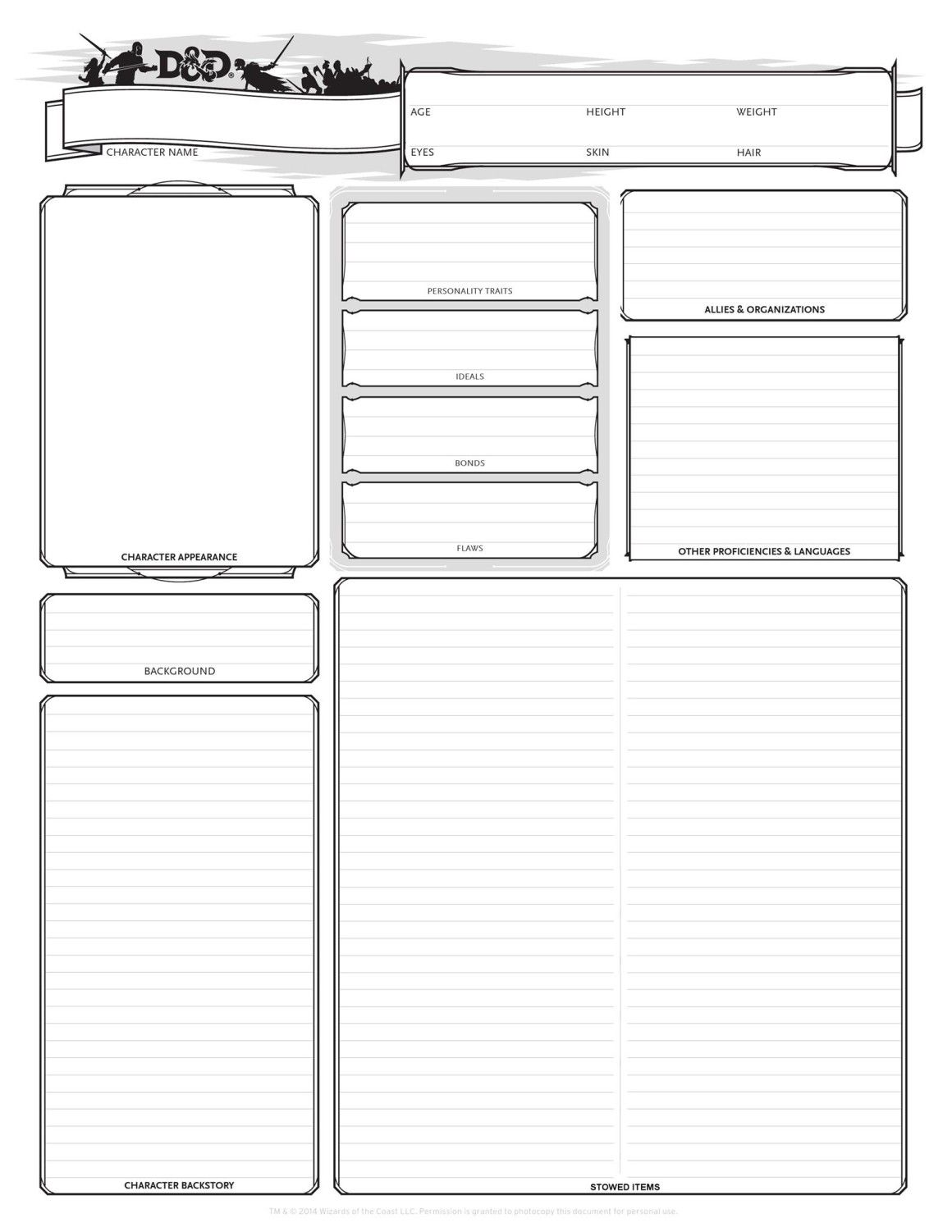 This is a photo of Declarative Dnd 5e Printable Character Sheet