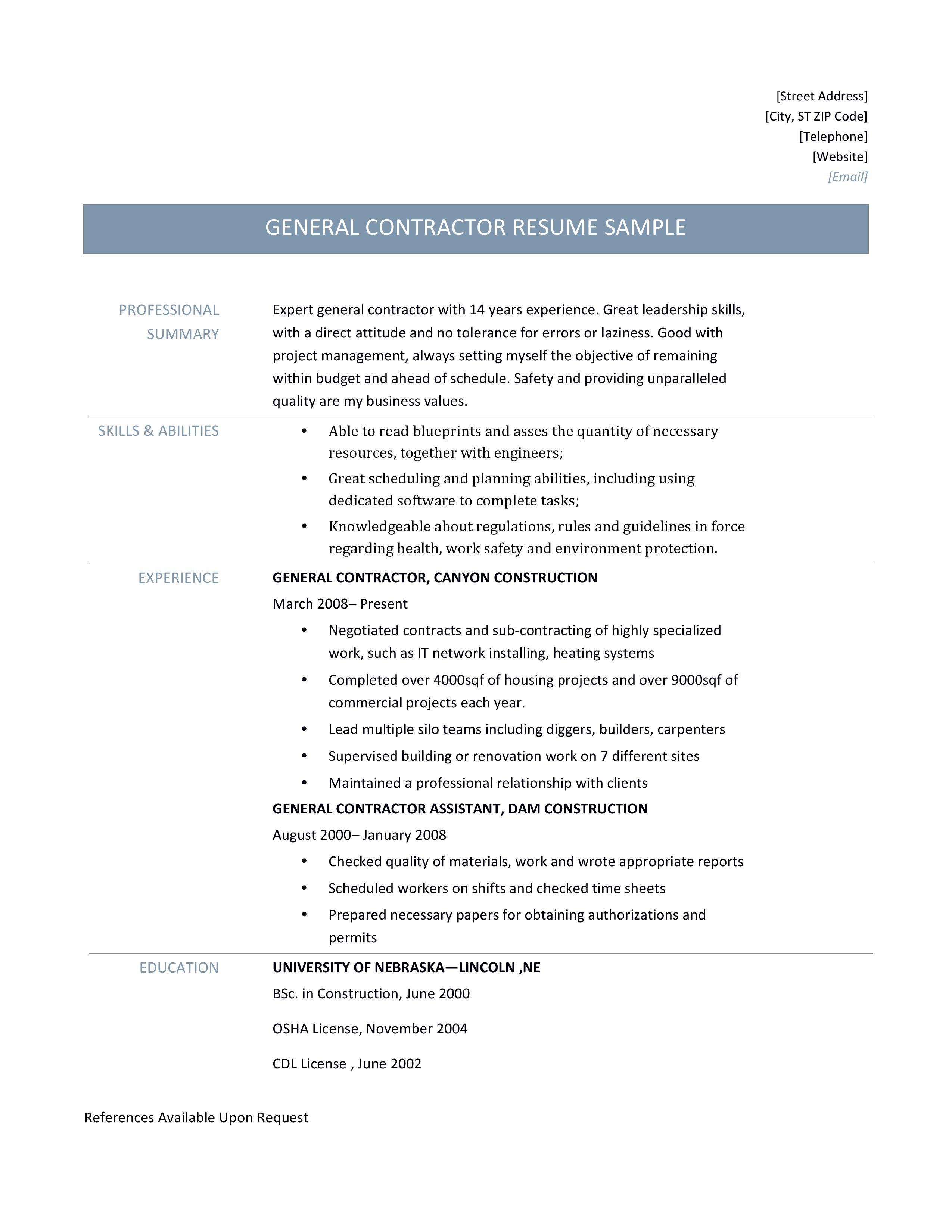General Contractor Resume Templates Job Resume Examples Resume Examples Resume