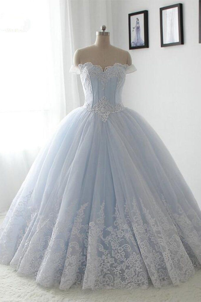 Light blue organza lace sweetheart A-line long dress,princess ball ...
