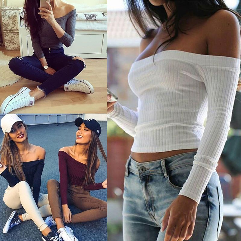 cc88a65678ca1 Fashion Women Ladies Sexy Off Shoulder Crop Tops Tank Long Sleeve Blouse T  Shirt in Clothing