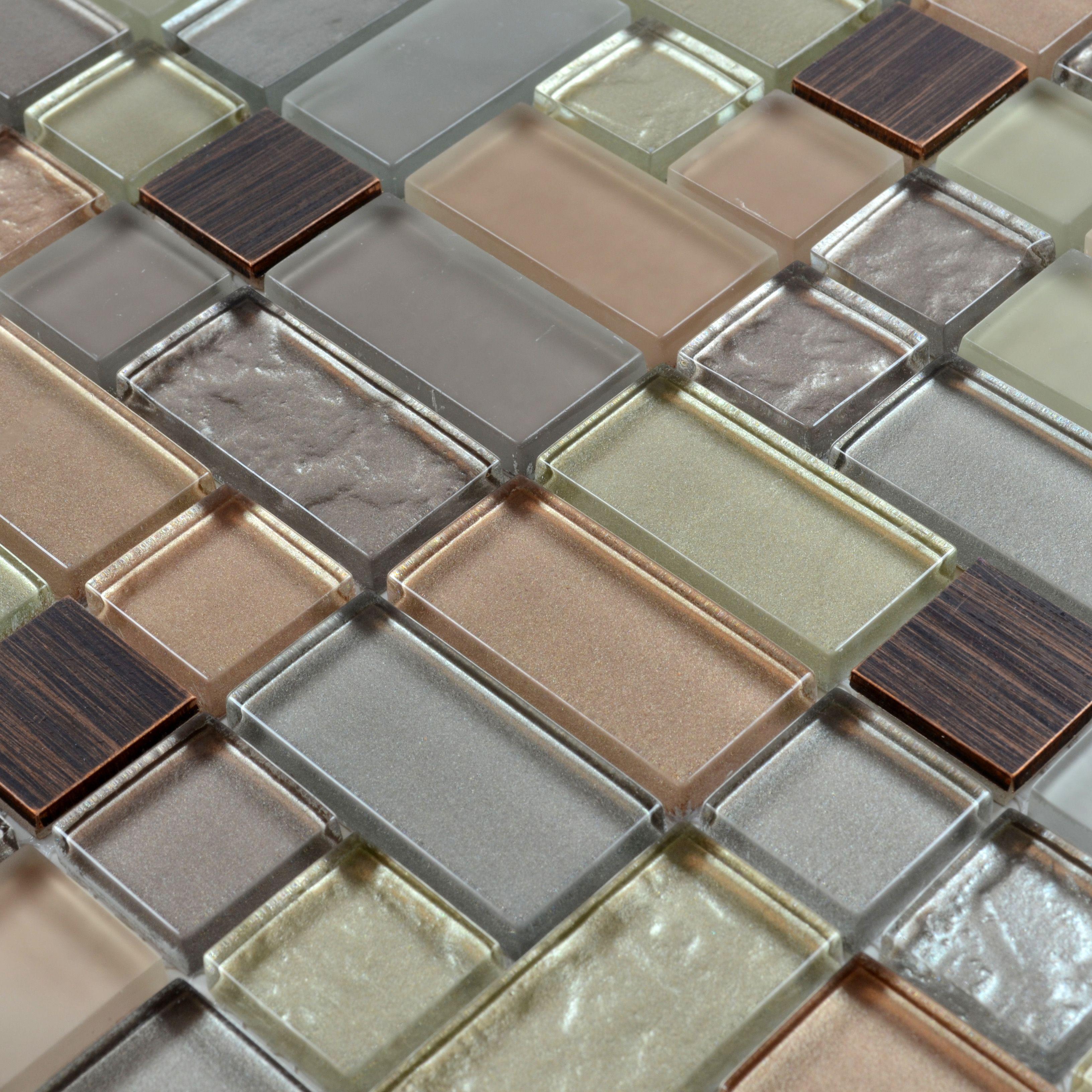 Metal And Glass Tile Backsplash Hand Painted Aluminum Tile Crystal Mosaic  Wall Decor MG005, Size