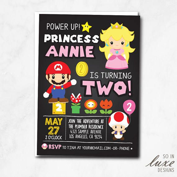 Princess Peach Birthday Party Invitation Luigi Toad Cute Cartoon Chalkboard World Mario Brothers Centered Printable Printed