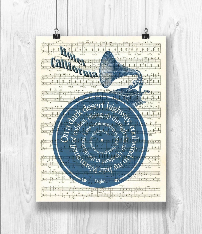 Printable Hotel California Eagles Art Print Lyrics In Etsy John Lennon Beatles Discos De Vinilo