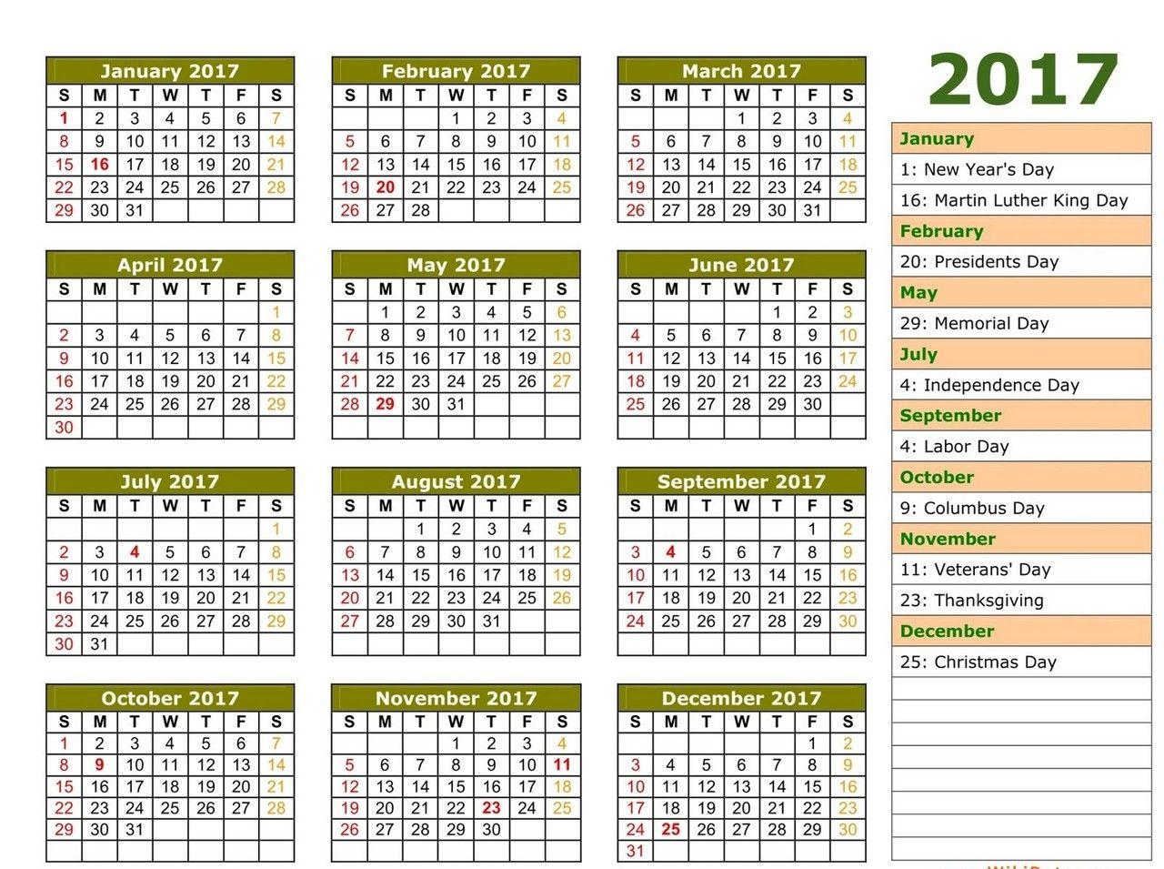 1 Page Calendars 2017