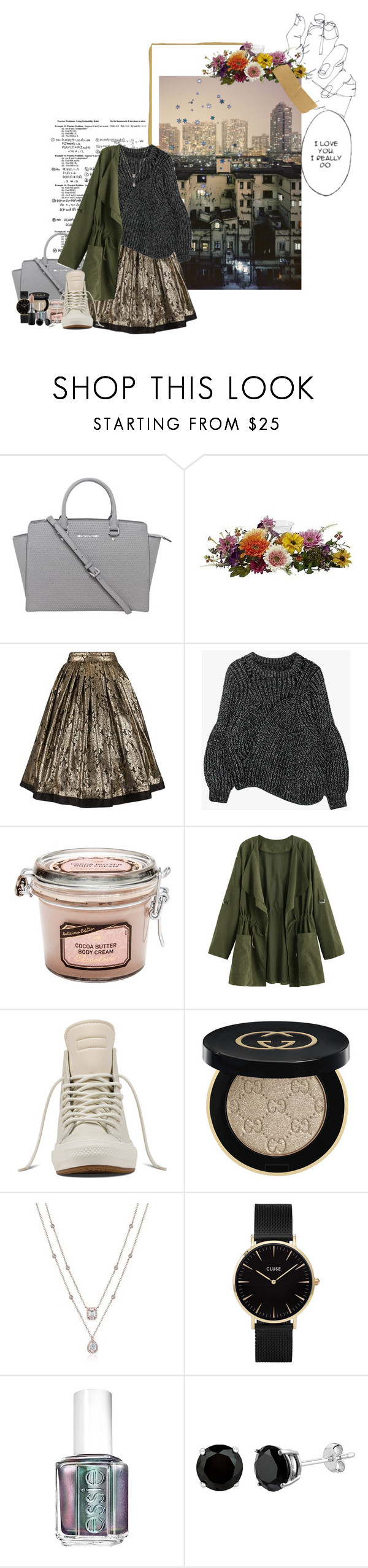 """""""I Got Me"""" by lady-wednesday ❤ liked on Polyvore featuring Michael Kors, Nearly Natural, Versace, Converse, Gucci, CLUSE, Essie and MAC Cosmetics"""