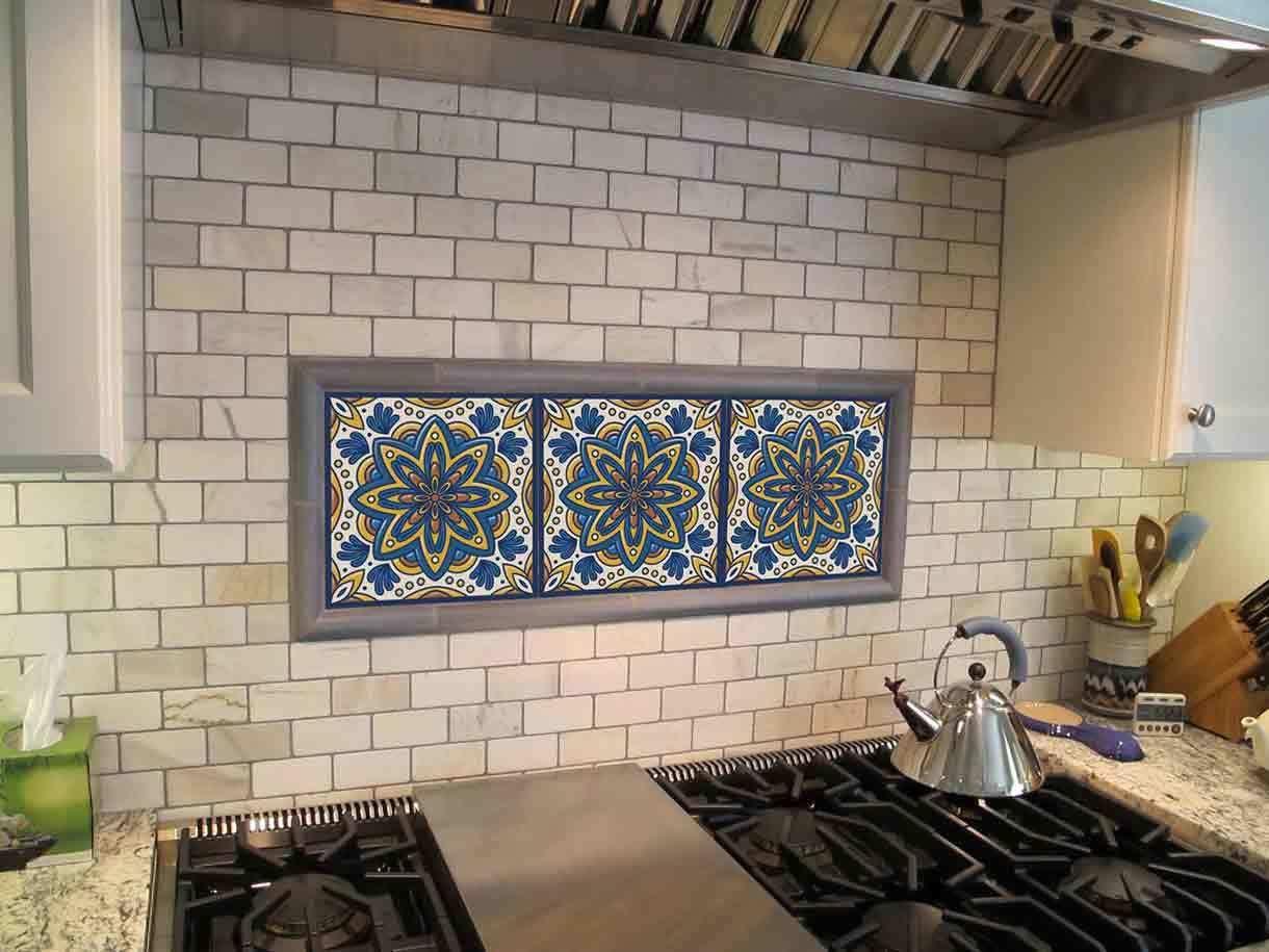 Blue Gold Star Turkish Artistic Tile