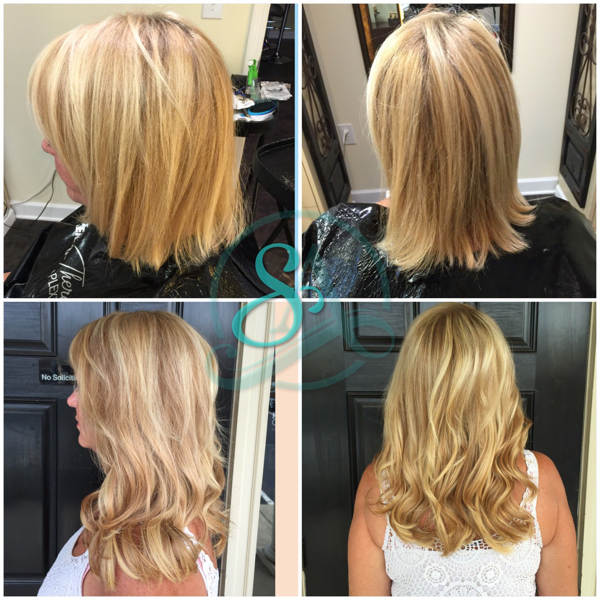 fusion extensions for fullness and length. blonde hair extensions