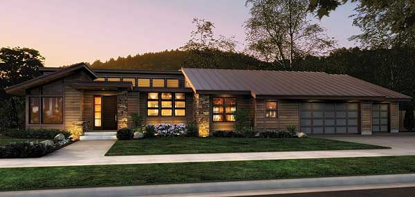 Plan 69402am Single Story Contemporary House Plan Modern Style