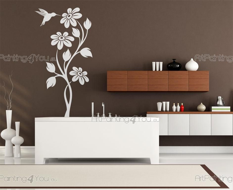 Wall stickers hummingbird flowers for Dekoelemente wohnzimmer
