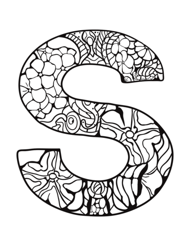 Letter S Zentangle Coloring Page From Zentangle Alphabet Category Select From 30582 Printable Crafts Coloring Pages Alphabet Coloring Pages Alphabet Coloring