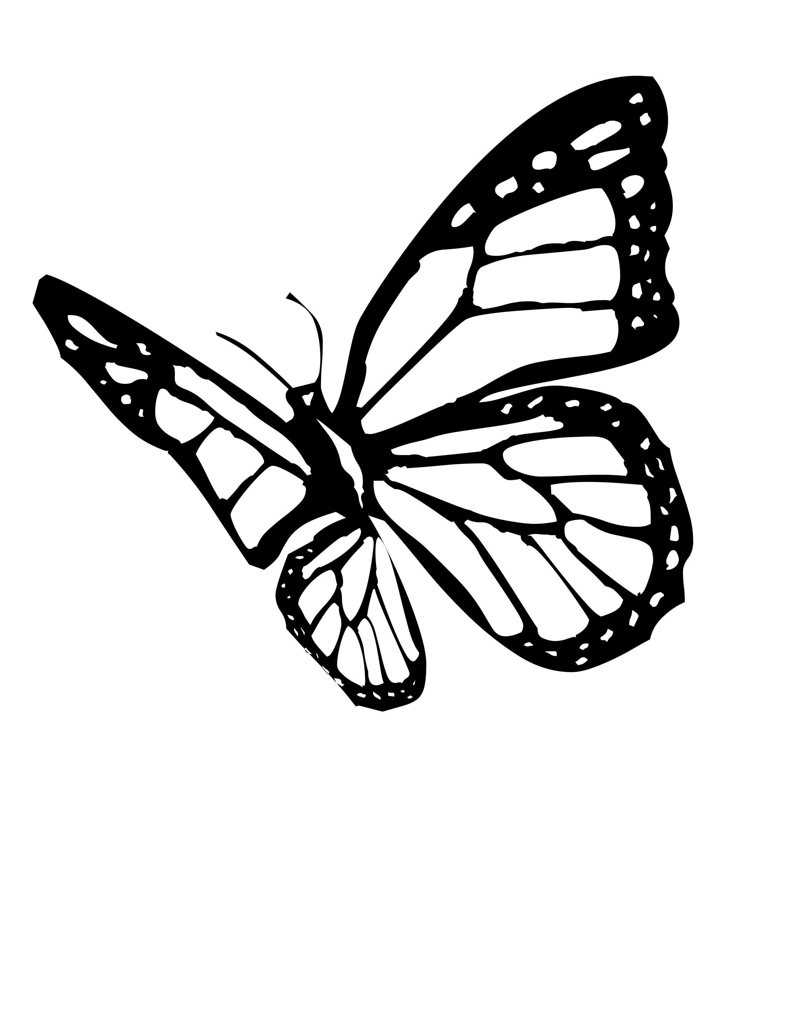 Butterfly Coloring Pages Butterfly Tattoo Stencil Monarch Butterfly Tattoo Butterfly Outline
