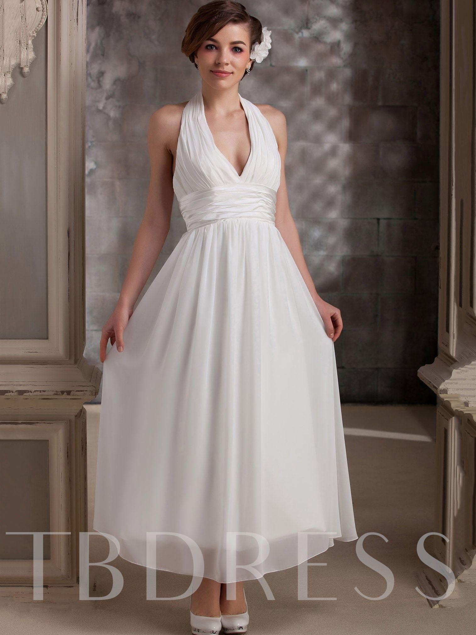 Tea Length Empire Waist Beach Plus Size Wedding Dress Ankle