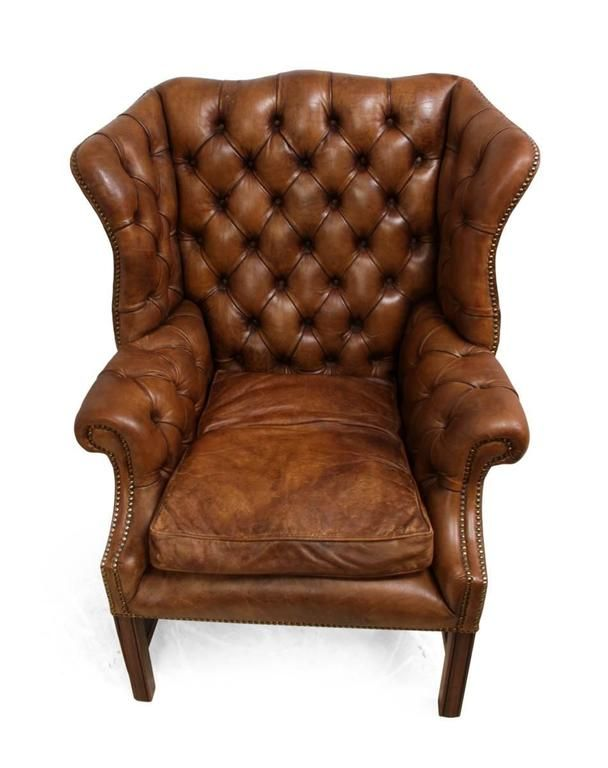 Vintage Leather Wing Chair 7