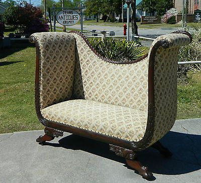 Marvelous Stunning Federal Empire Mahogany High Arm Fireside Sofa Theyellowbook Wood Chair Design Ideas Theyellowbookinfo
