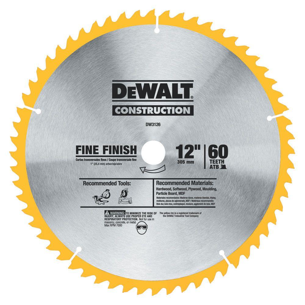 Dewalt 20 Series 12 In 60t Fine Finish Saw Blade Dw3126