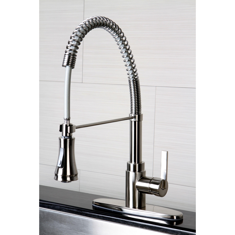 Continental Modern Spiral Satin Nickel Kitchen Faucet - Overstock S ...