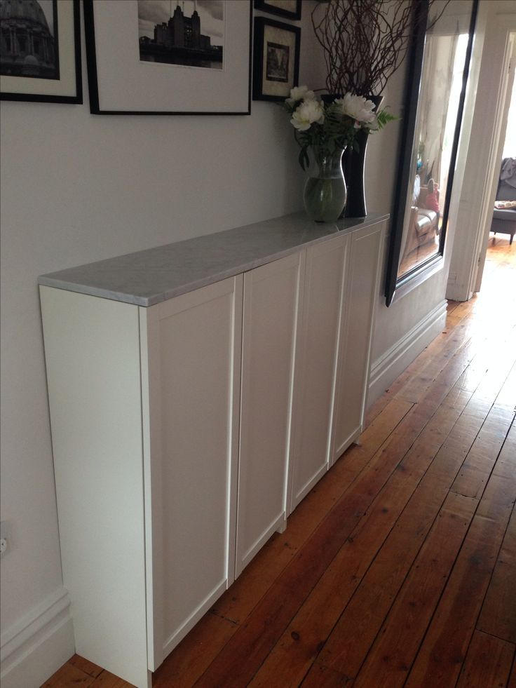Ikea Billy Bookcases For Hallway Shoe Storage Topped With Marble In 2020 Billy Bucherregal Ikea Ideen Ikea