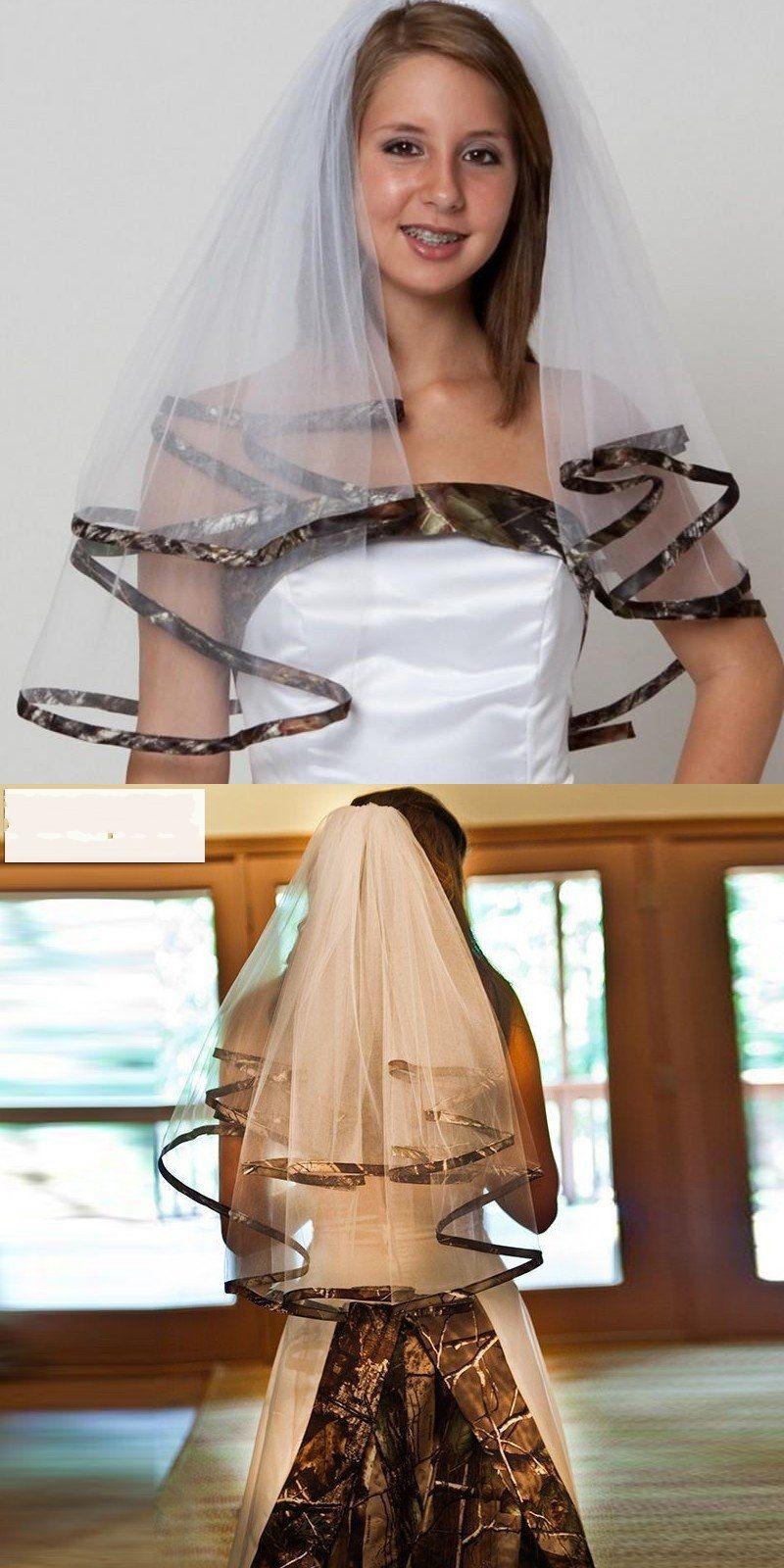 Custom made white color camo wedding veils summer style camo satin
