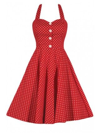 Women's Retro Gal Polka Dot Halter Swing Dress