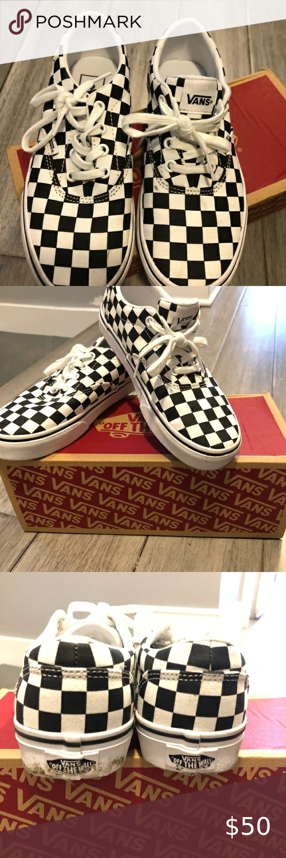 Checkerboard Vans Shoes size 6.5 in