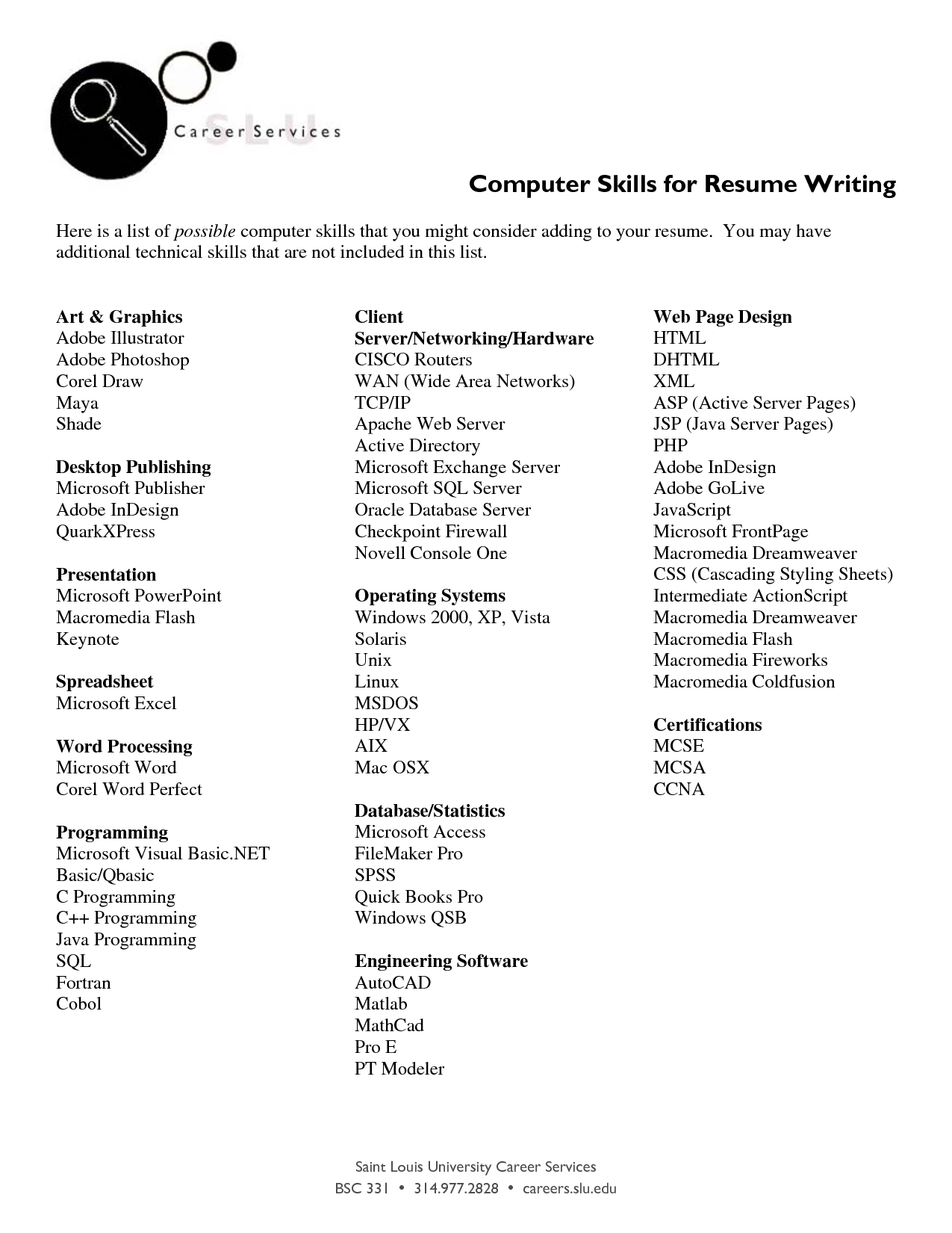 Listing Computer Skills On Resume http//www