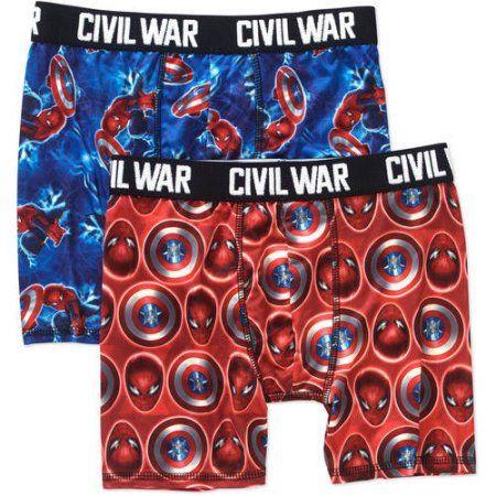 Marvel Captain America Civil War Boys' Licensed Boxer Brief 2 Pack, Size: 6, Multicolor