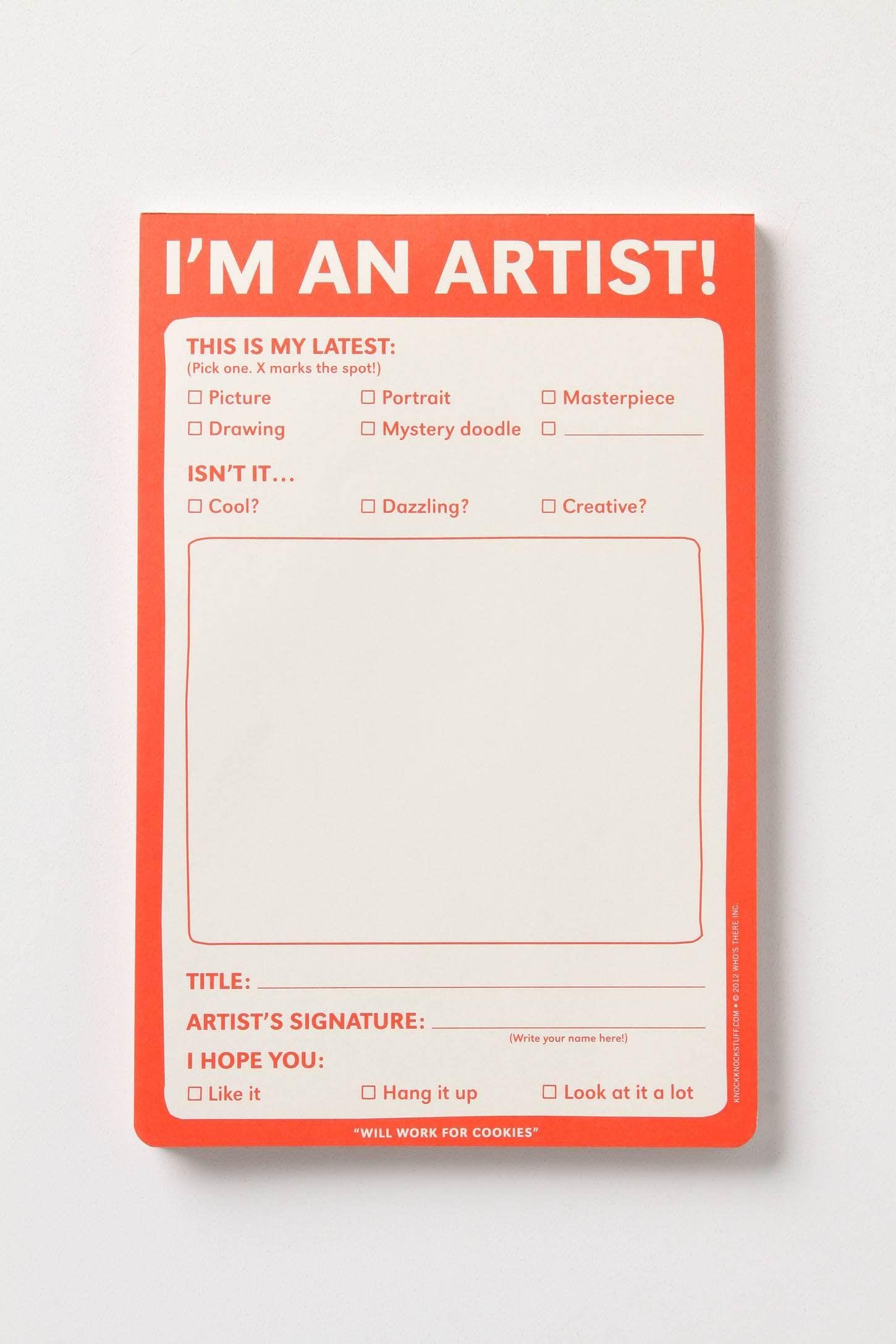 I M An Artist Notepad