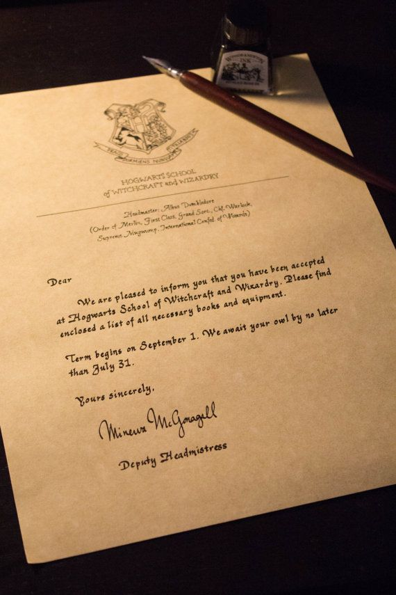 Handwritten /& Personalized Ravenclaw House Acceptance Letter from Hogwarts