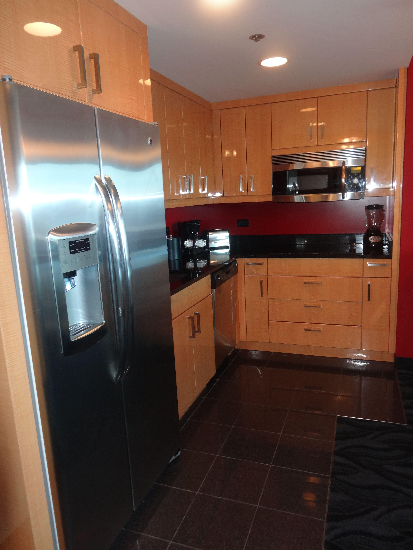 kitchen, 1 bedroom studio suite at elara.   las vegas christmas