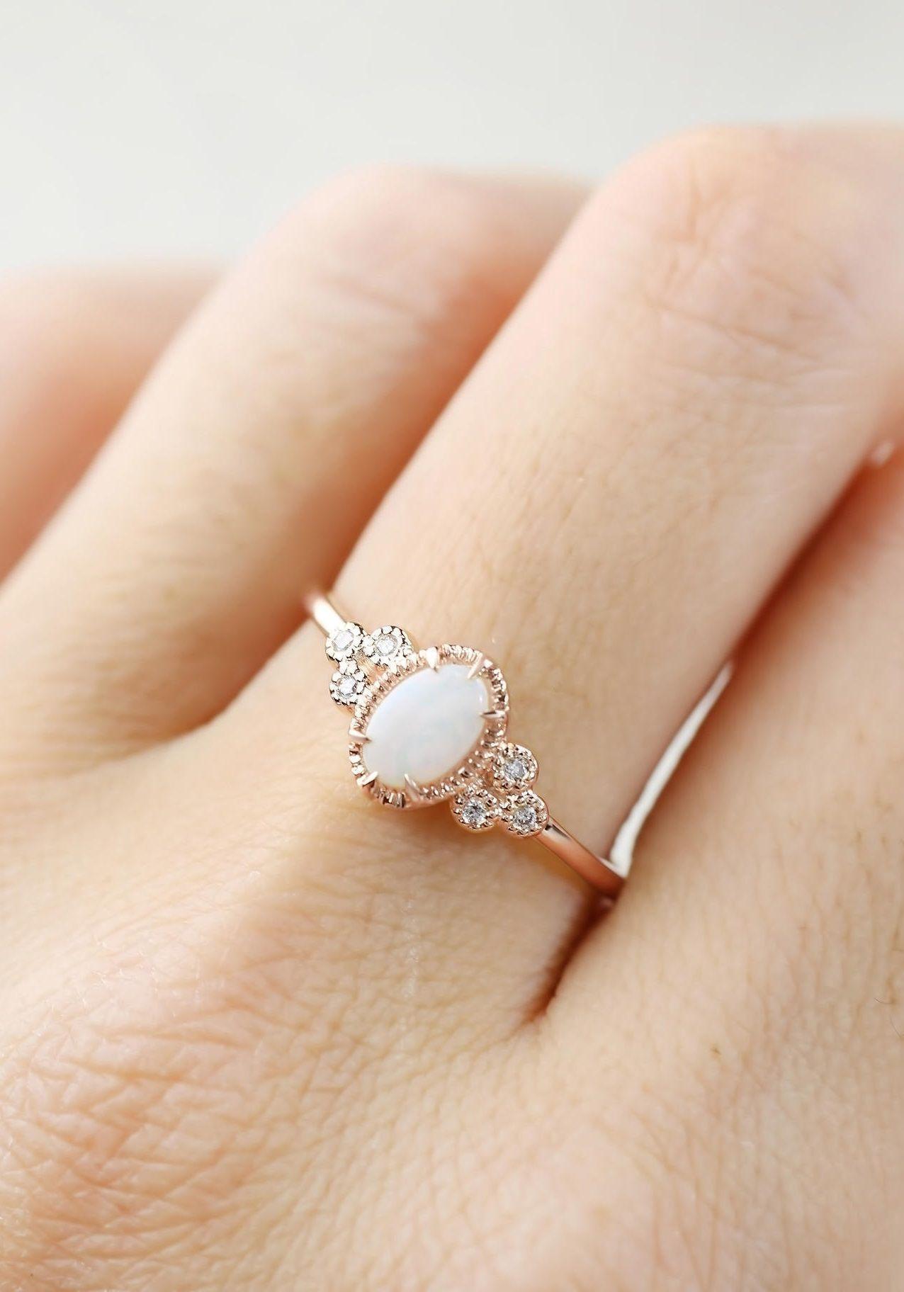 Opal engagement ring vintage engagement ring rose gold