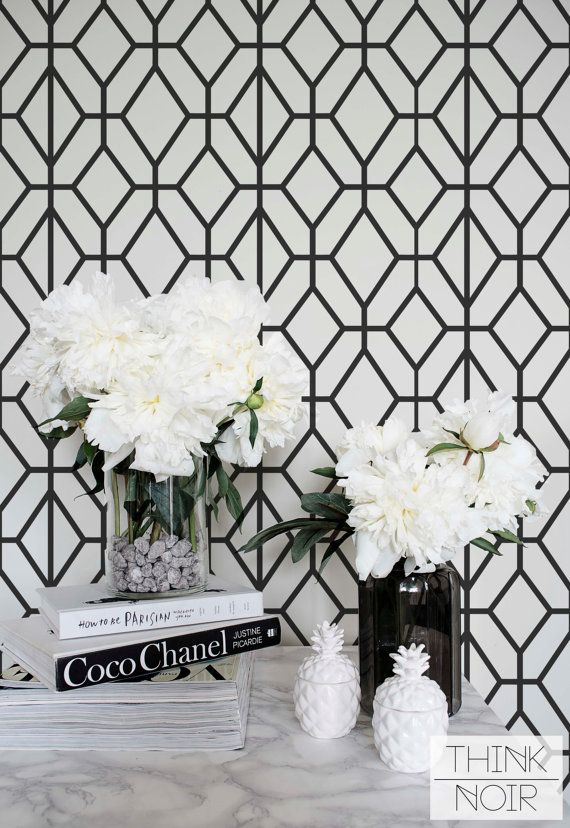 Black And White Wallpaper Ideas For Living Room Modern With Tv Above Fireplace Dark Grey Geometric Pattern Removable Or Minimalistic Wall Mural
