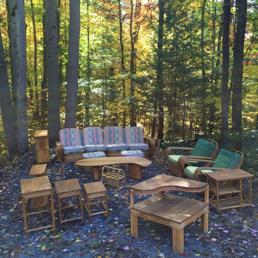 Bamboo Chair Rate: Vintage Paul Frankl Rattan Furniture Set (PRICE REDUCED