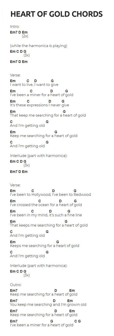 Heart of Gold Guitar Chords -> visit the website for the video ...