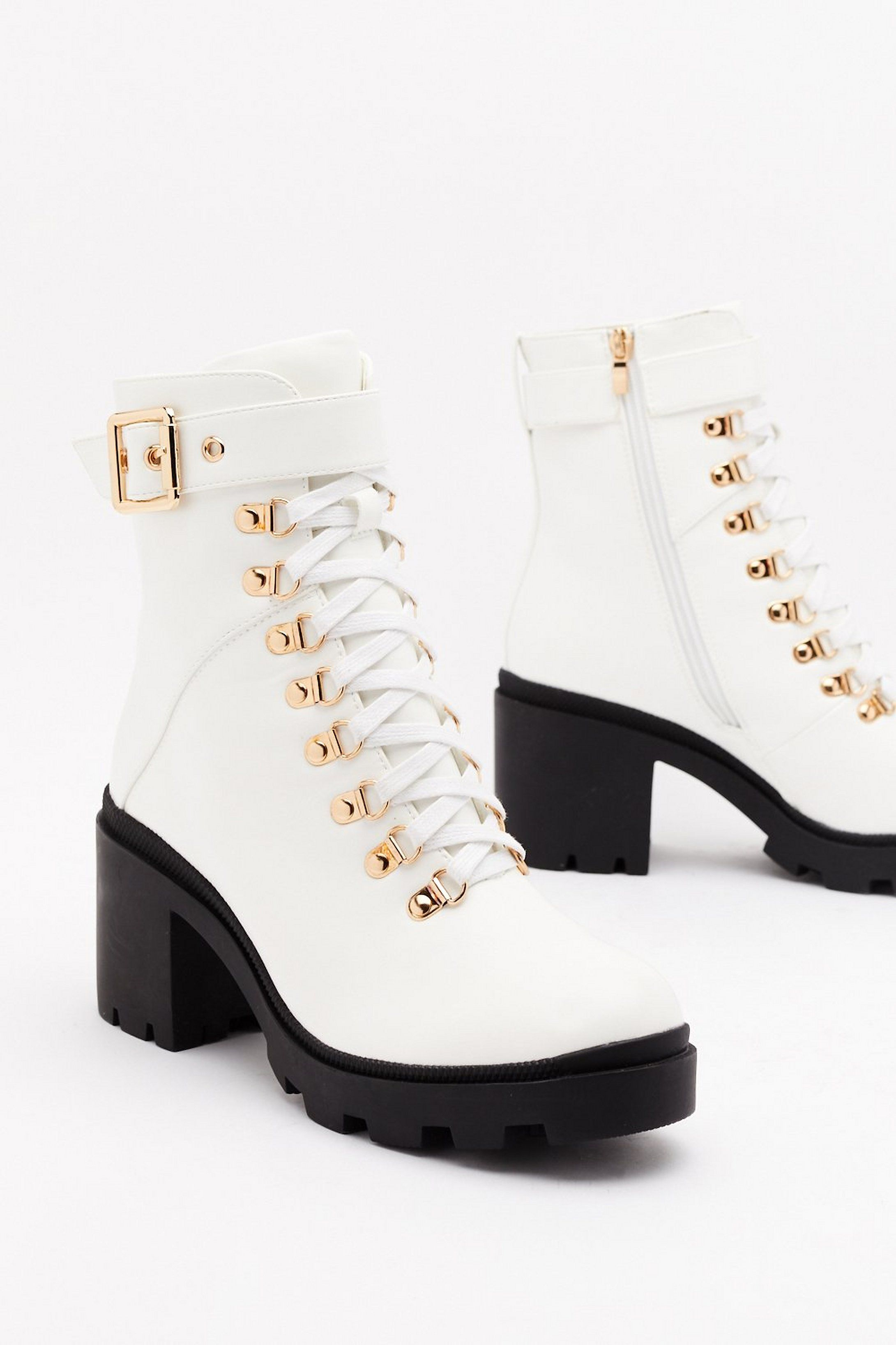 If the Boot Fits Faux Leather Lace-Up Boots | Nasty Gal