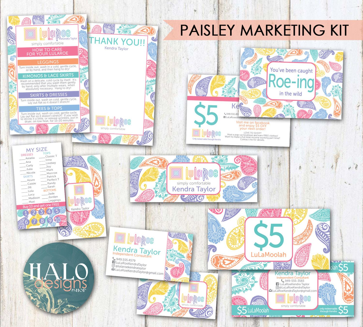 Paisley - business cards, thank you cards, size cards, care cards ...
