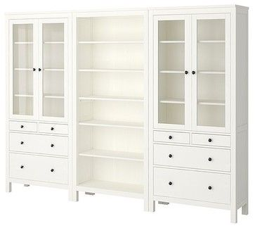Ikea HEMNES Storage Combination Traditional Bookcases Cabinets And Computer  Armoires
