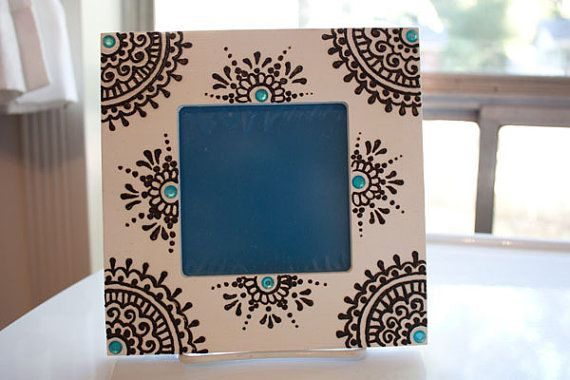 4x4 inch whtie Wood Henna Frame with turquoise by NewWorldHenna, $20.00