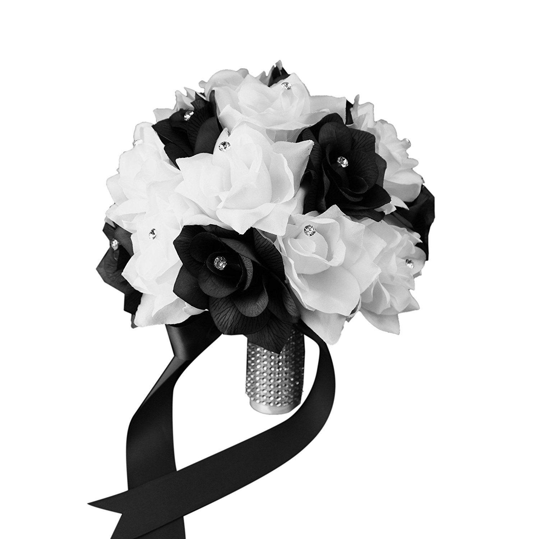 Bridal Bouquet - Black White with Ribbon and Rhinestone - Silk ...