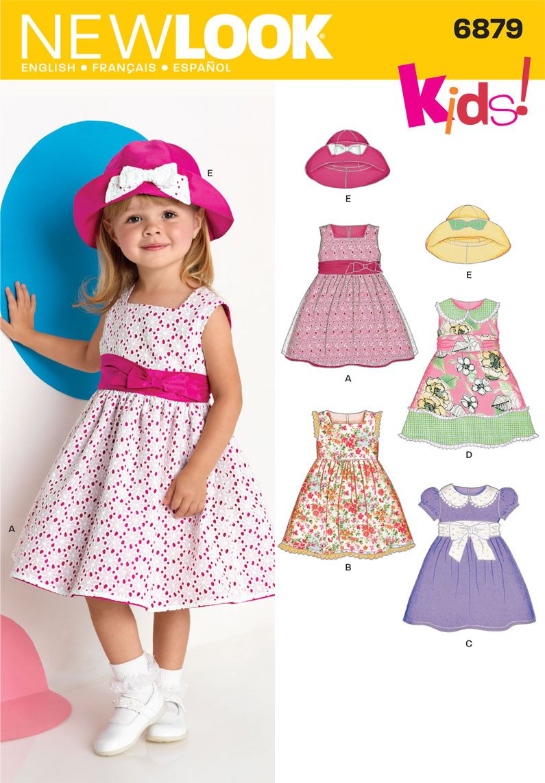 Baby and toddler peasant dress pattern easy pullover dress toddler dresses and hat sewing pattern 6879 new look jeuxipadfo Gallery