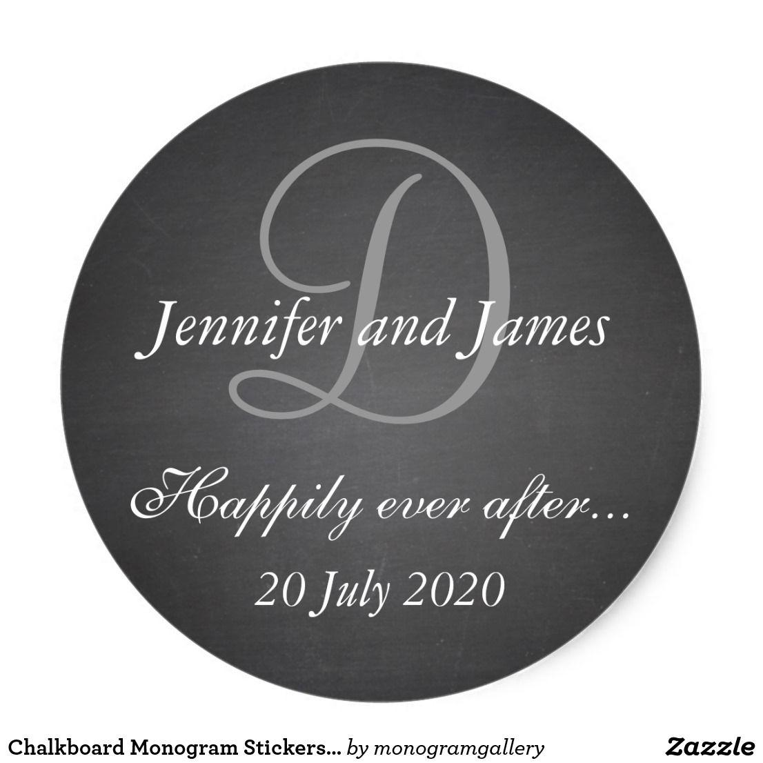 Chalkboard Monogram Stickers For Wedding Favors Wedding
