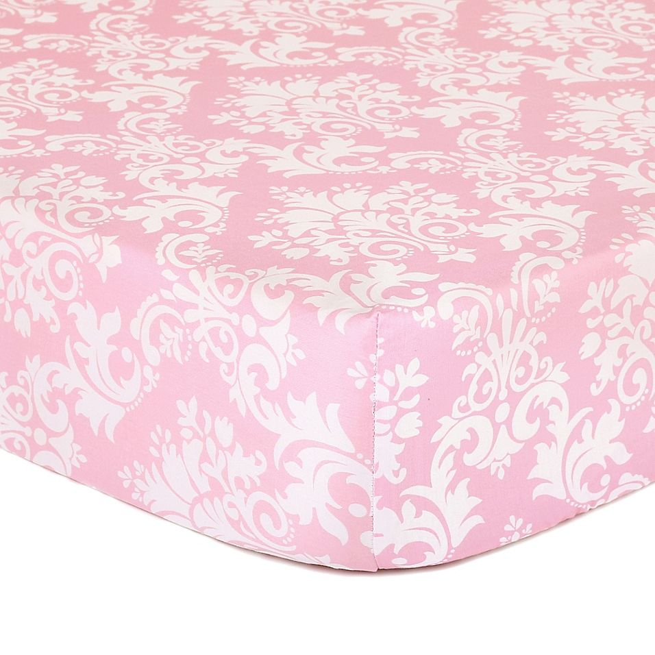 The Peanutshell Damask Fitted Crib Sheet In Pink