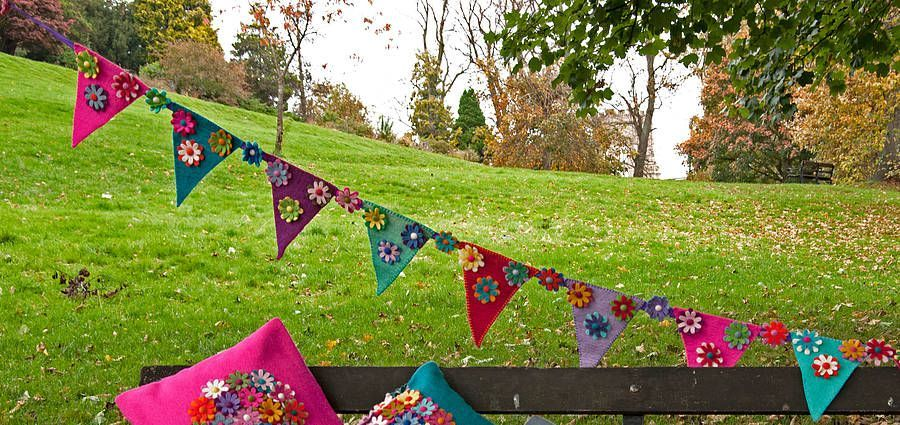 Handmade Felt Multicoloured Flower Bunting-Handmade Felt Multicoloured Flower Bunting  Handmade Felt Multicoloured Flower Bunting  -#Bunting #felt #flower #Handmade #Multicoloured