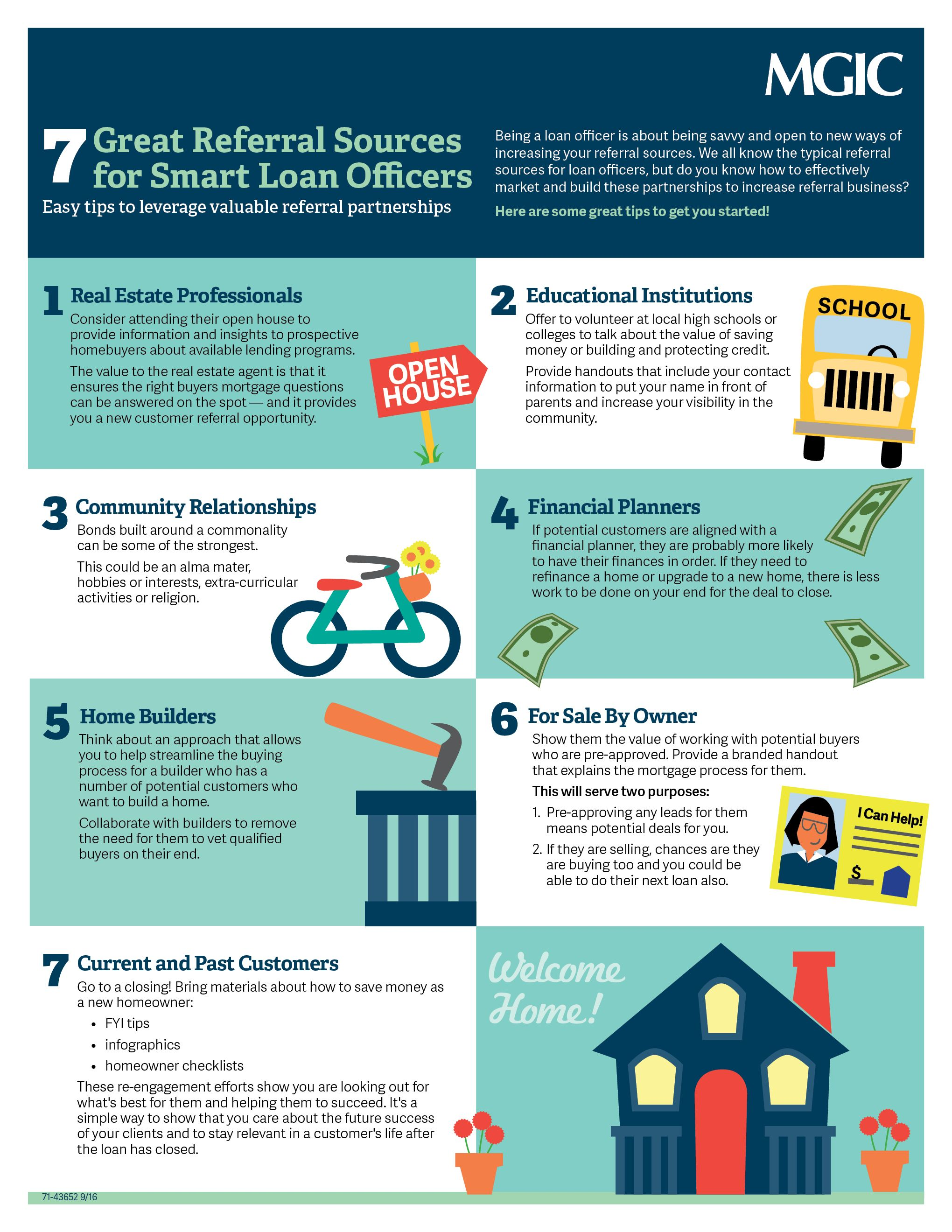 7 Great Referral Sources For Smart Loan Officers Mortgage Infographic Mortgage Infographic Mortgage Protection Insurance Loan Officer