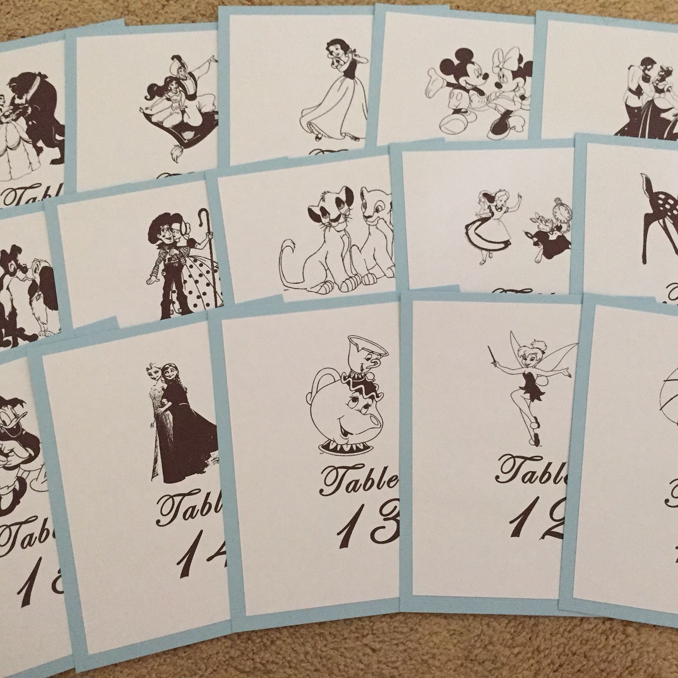 Disney table numbers disney wedding pinterest for 12 days of christmas table numbers