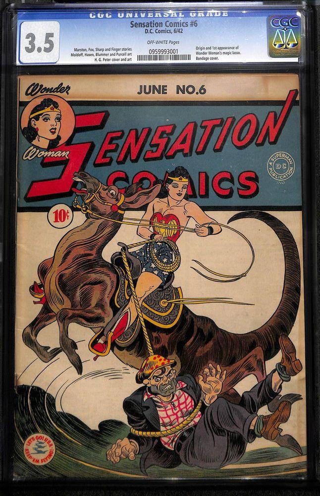 Details about 1942 Sensation Comics 6 CGC 3.5! 1st App of